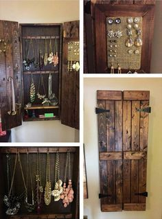 Pallet Wood Jewelry Rack Design wooden pallet jewelry cabinet