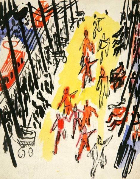 Забег по бульвару1929 - 1930 годыБумага, тушьГрафика