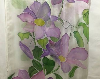 Silk scarf,violet flowers,hand painted flowers,silk chifon