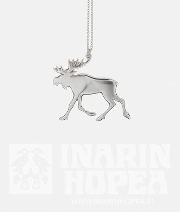 Elk Pendant, SElk Pendant, S  Height 20 mm, width 24 mm Chain length 40 cm Sterling Silver 925 Handmade in Inari, Lapland  Price 51,00€