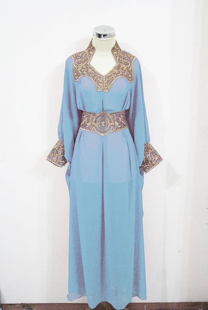 Moroccan Caftan BABY BLUE Sheer Chiffon Fancy Gold Embroidery Abaya Dubai Maxi Dress farasha Style Jalabiya. $55.55, via Etsy.