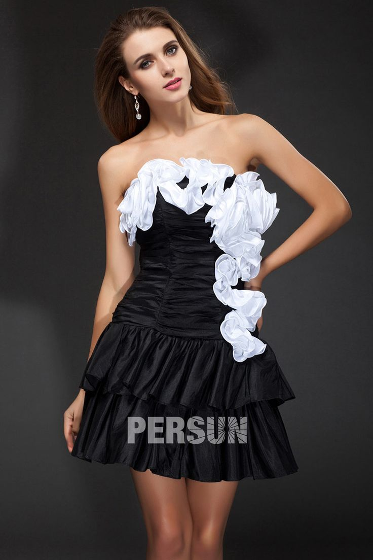 #Vestido de #Cóctel Corto Negro #Sexy de #Tafetán Flores a Manos Volante Escote Barca - Persun.es