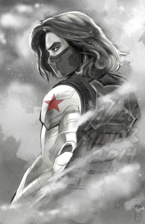 The Winter Soldier by RadiantGrey on Etsy. // I need this because of reasons. (Sebastian Stan is an amazing actor. It hit me afterwards when I realized that he barely had any lines. All of the pity and sorrow and feels I had were directly related to his amazing ability with facial expressions, all the way up to his eyes. Incredible. Can't wait for the next movie!!!)