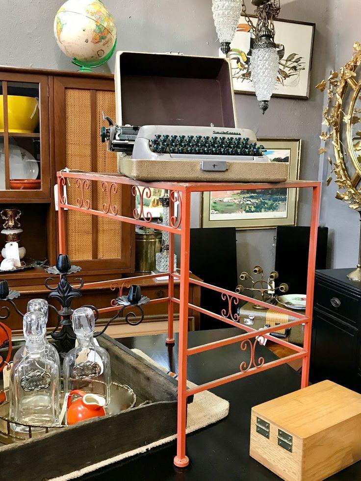 "Mid Century Orange Side Table   24"" Wide x 16"" Deep x 23.5"" High   Was $88 Sale Price $68  Vintage Affection Dealer #1680  White Elephant Antiques 1026 N. Riverfront Blvd. Dallas, TX 75207"