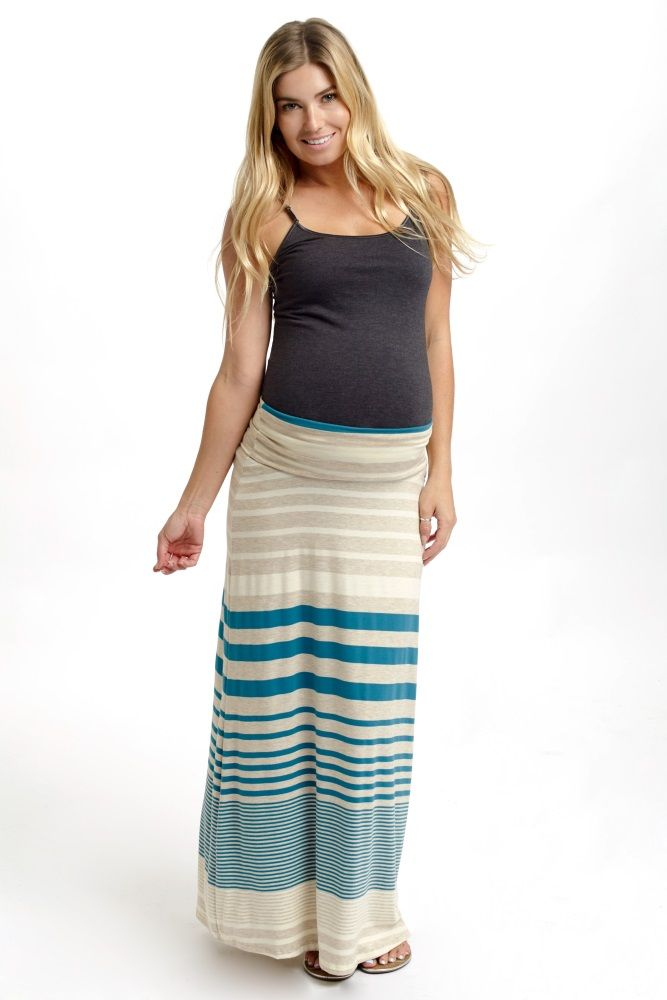 Perfect for an all-day wear this season, this alternating striped maxi skirt has the versatility for a casual day out or the option of dressing up for a night out. Teal-Beige-Alternating-Striped-Maternity-Maxi-Skirt