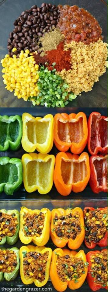 Ingredients: 4 large bell peppers 3/4 cup dry quinoa 15 oz. can black beans  1 cup corn  2 green onions 2/3 cup salsa 2 Tbsp. nutritional yeast 1 1/2 tsp. cumin 1 tsp. smoked paprika 1 tsp. chili powder  Optional additions: chipotle, tomatoes, cilantro, green chiles, garlic powder, hemp hearts