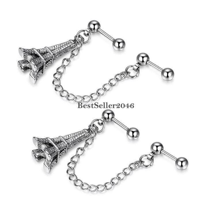 Doppel Piercing Eiffelturm Ohrstecker Ohrhänger mit Kette Ohrklemme Edelstahl