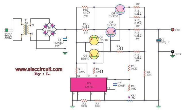 Dc Power Supply 0 30v 5a It Use Lm723 Dc Voltage