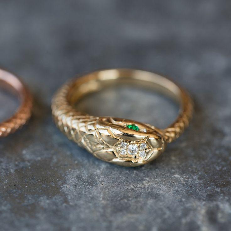 14kt gold and diamond snake ring – Luna Skye by Samantha Conn