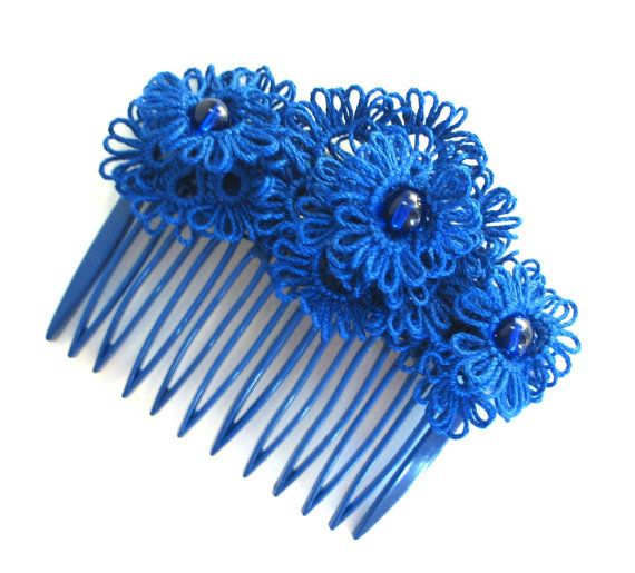 Indigo lace flowers hair comb  Tatted lace by LandOfLaces on Etsy