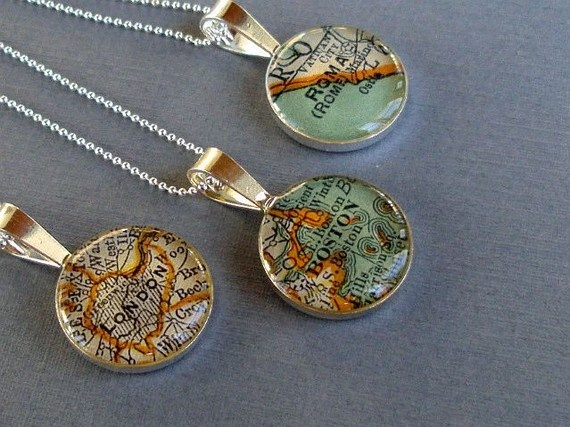 Map necklaces.: Idea, Craft, Sterling Silver, Necklaces, Map Necklace, Silver Loop