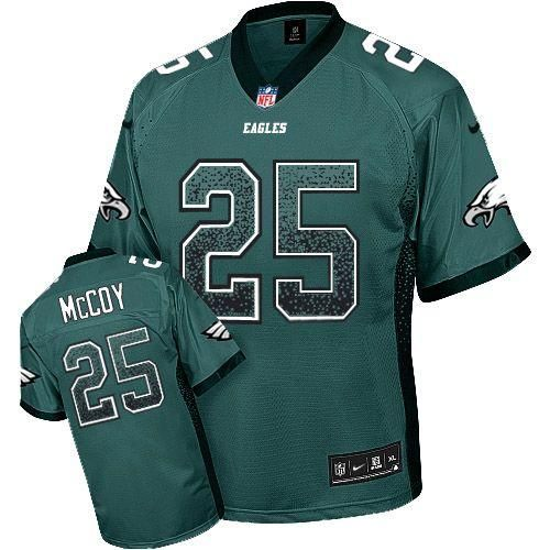 mens nike eagles 25 lesean mccoy midnight green team color stitched elite drift fashion jersey