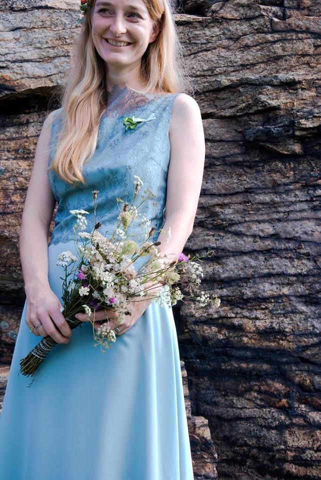 nontraditional dress, blue, lace, custom made