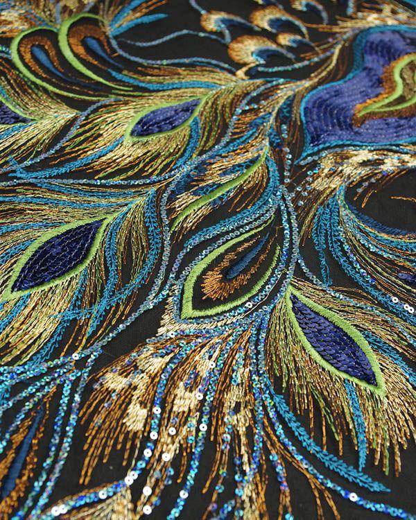 Stunning Peacock Feather Sequinned Tulle Fabric £50.00 per meter @ trurofabrics.com
