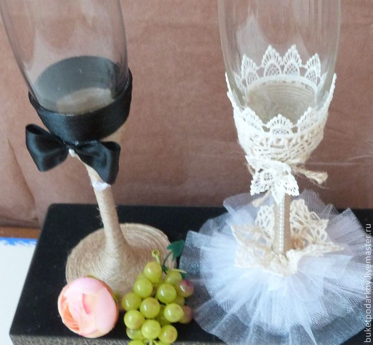 Купить Свадебные бокалы'' Анастасия'' - бежевый, свадебные аксессуары, свадебные бокалы, свадебные фужеры
