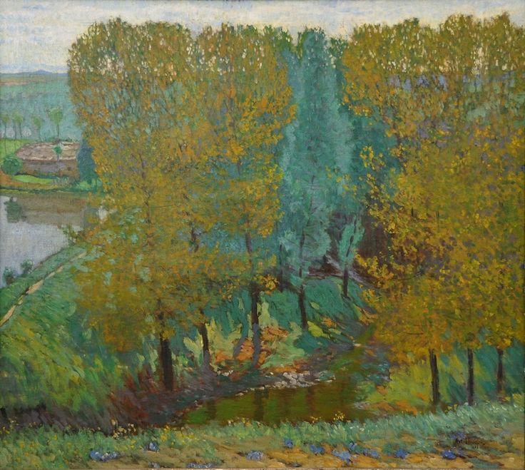 Pod rybniční hrází v Okoři / Under pond dam in Okoř, Hudeček Antonín. (1872 - 1941)