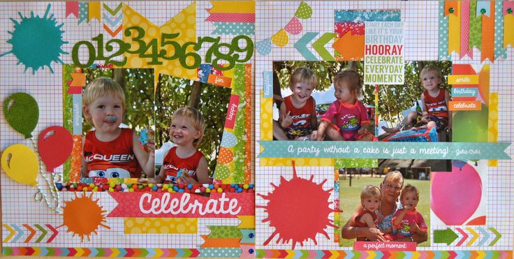 Childrens birthday page done with Kaisercraft - Pop Collection