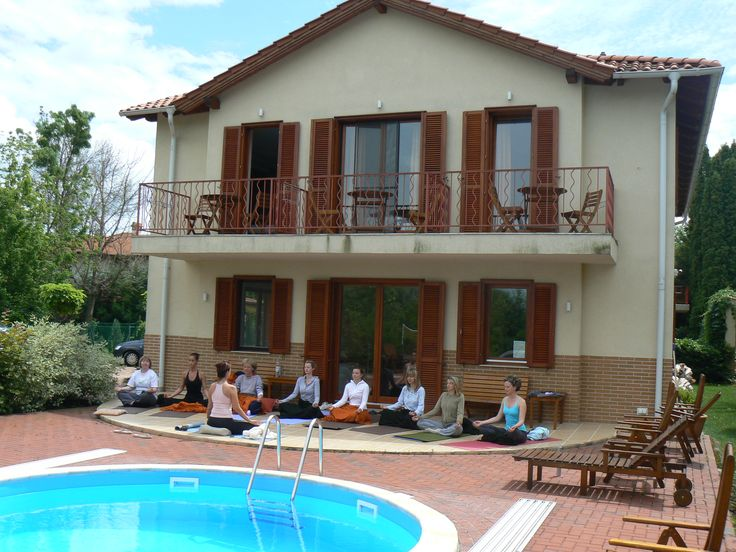 Yoga at the pool. Nice venue for your group:)