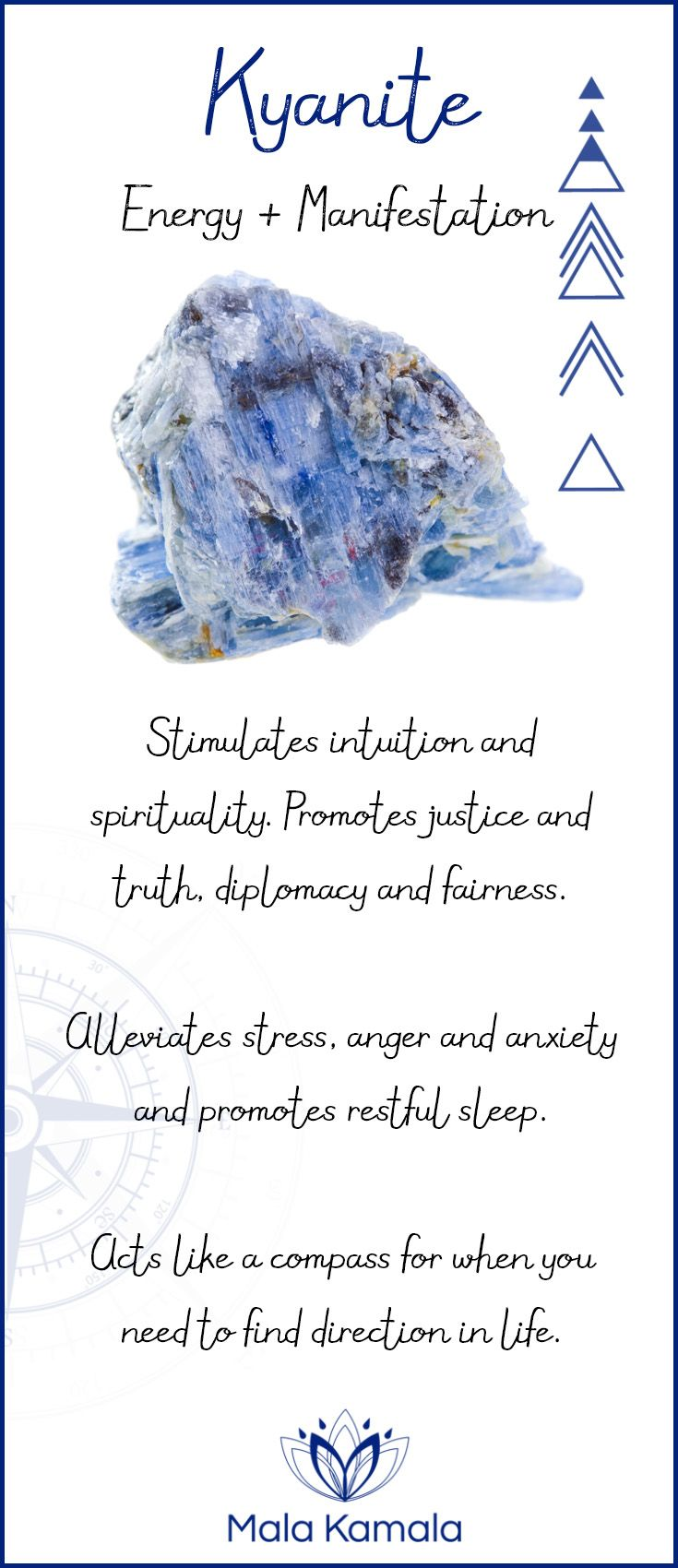 Pin To Save, Tap To Shop The Gem. What is the meaning and crystal and chakra healing properties of kyanite? A stone for energy and manifestation. Mala Kamala Mala Beads - Malas, Mala Beads, Mala Bracelets, Tiny Intentions, Baby Necklaces, Yoga Jewelry, Meditation Jewelry, Baltic Amber Necklaces, Gemstone Jewelry, Chakra Healing and Crystal Healing Jewelry, Mala Necklaces, Prayer Beads, Sacred Jewelry, Bohemian Boho Jewelry, Childrens and Babies Jewelry.