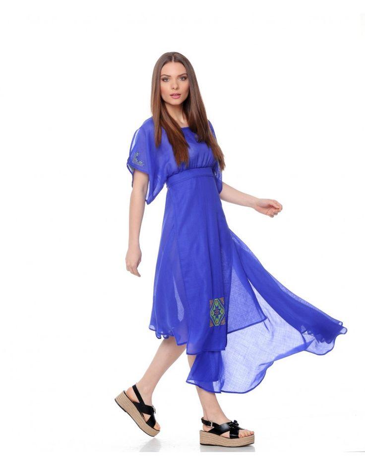 Rochie din tesatura de lana merinos albastra