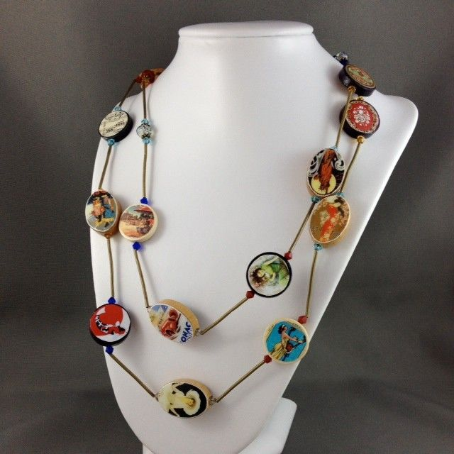 Travel Postcards Photobeads Necklace with crystals and bronze tubes