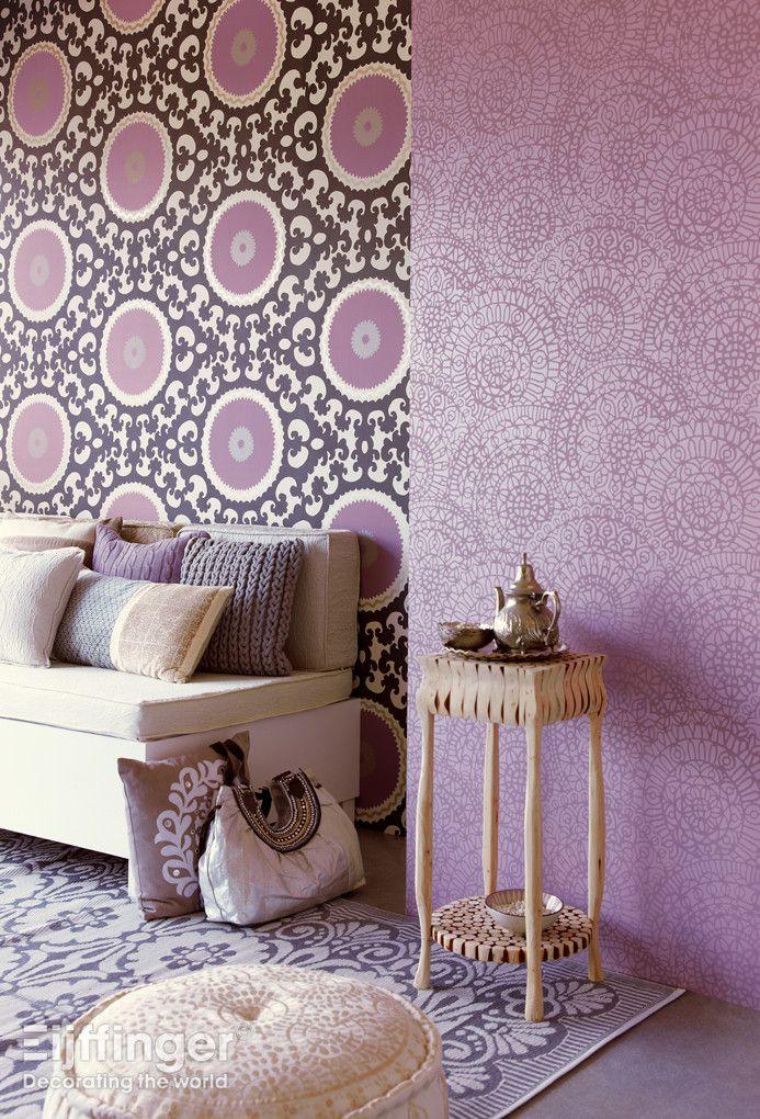 Behang Suzani - paars, roze. #interieur #behang #patroon