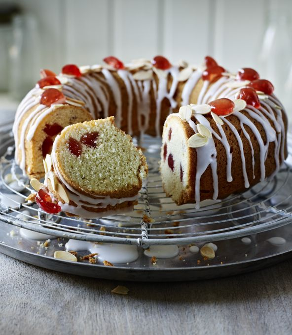 A lovely cherry sponge cake with a little extra texture from the ground almonds. Dusting the cherries with flour helps stop them sinking to the bottom of the cake.