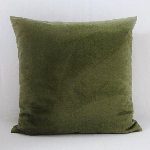 Olive Green Velvet Pillow With Tassels