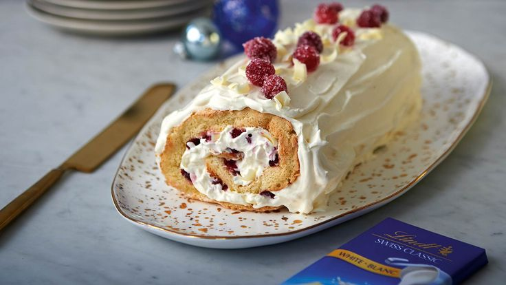 Every Christmas needs a Yule log. Here, we use white chocolate cream which pairs beautifully with cranberry