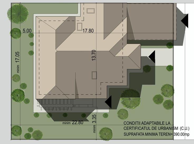 Locuinta parter + mansarda- Plan de situatie    House with a classic attic design - Site plan  