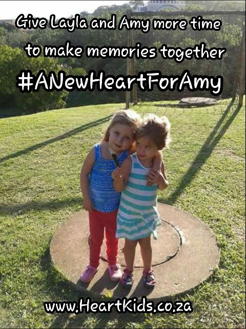 Layla is a real little trooper who just loves her big sister. Help Layla to find a new heart for Amy so that she can grow up, making memories with Amy instead of just being reminded of who Amy was. Time is running out…. Help Layla find a heart for her big sister! #ANewHeartForAmy www.HeartKids.co.za