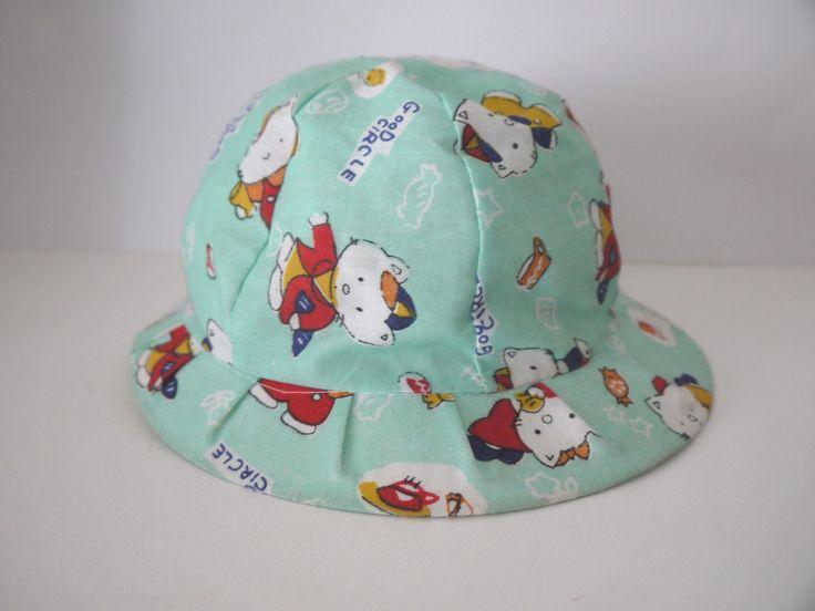 bob chapeau 69 mois bb toile coton vert bleu clair chats mixte garon fille
