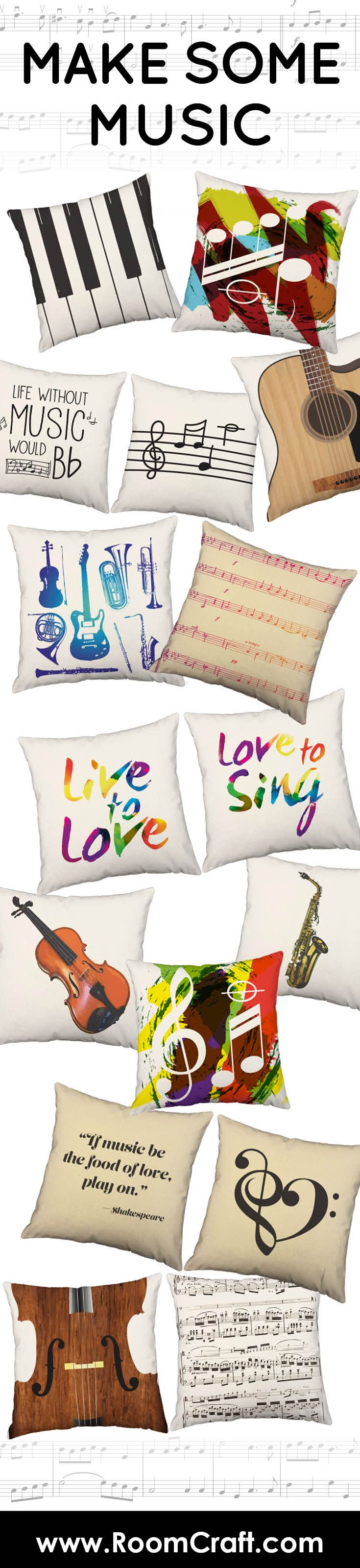 Celebrate your love for music with any of our musically inspired throw pillows. Our designs range from instruments to song. Each one is offered in multiple colors, sizes and fabrics making them the perfect addition for your home, library, or studio. Click through to the website to browse all of our musical designs and choose your favorite to create the perfect pillow pair for your home! #roomcraft