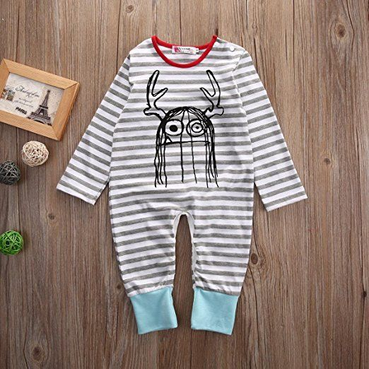 striped monster romper | Trendy Cheap Baby Clothes Online