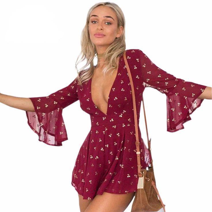 Bell Sleeve V-Neck Wine Red Short Skirt Romper