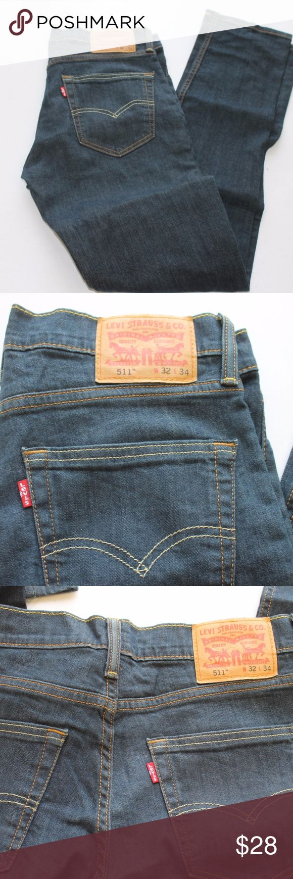 """MENS LEVIS 511 JEANS SIZE 32 X 34 BRAND NEW $58 SIZE:  32 X 34  WAIST:   32  INSEAM:    34  LENGTH:     43""""  STYLE:     STRAIGHT LEG - ZIP FLY  MATERIAL:     COTTON/ELASTINE  CONDITION:        BRAND NEW WITHOUT TAGS. SOURCED DIRECTLY FROM A NATIONAL UPSCALE U.S. RETAILER. QUALITY AND AUTHENTICITY GUARANTEED!  32-25-G Levi's Jeans"""
