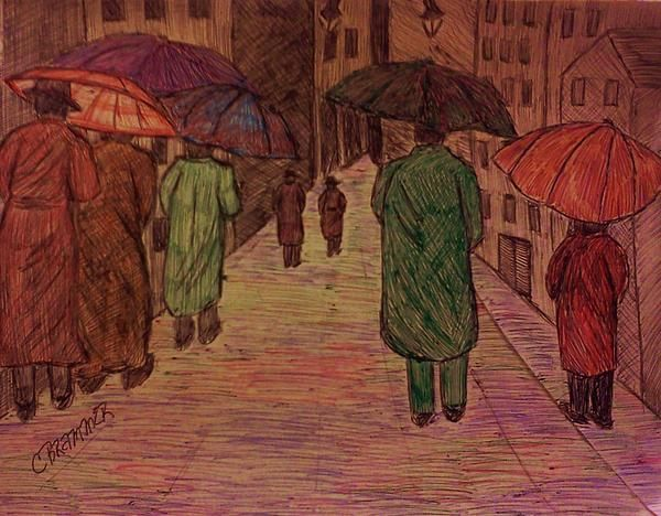 A pen and ink drawing with people walking with their trench-coats and umbrellas during the rain down a busy city street.   Drawing by Christy Brammer