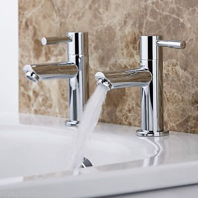 Chrome Modern Solid Brass Twin Basin Taps Basin Sink Hot & Cold Taps Luxury Pair