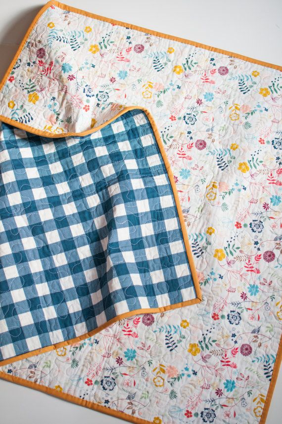 Love the blue gingham print & yellow piping for baby boy quilt-- obviously the interior fabric would have to change