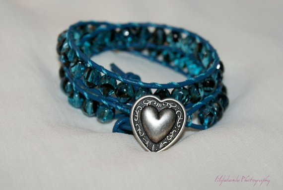 Blue Bayou - Beautiful blue, double leather-wrap bracelet, using 'tortoise shell' teal Czech glass beads. Beautiful on! £28.00