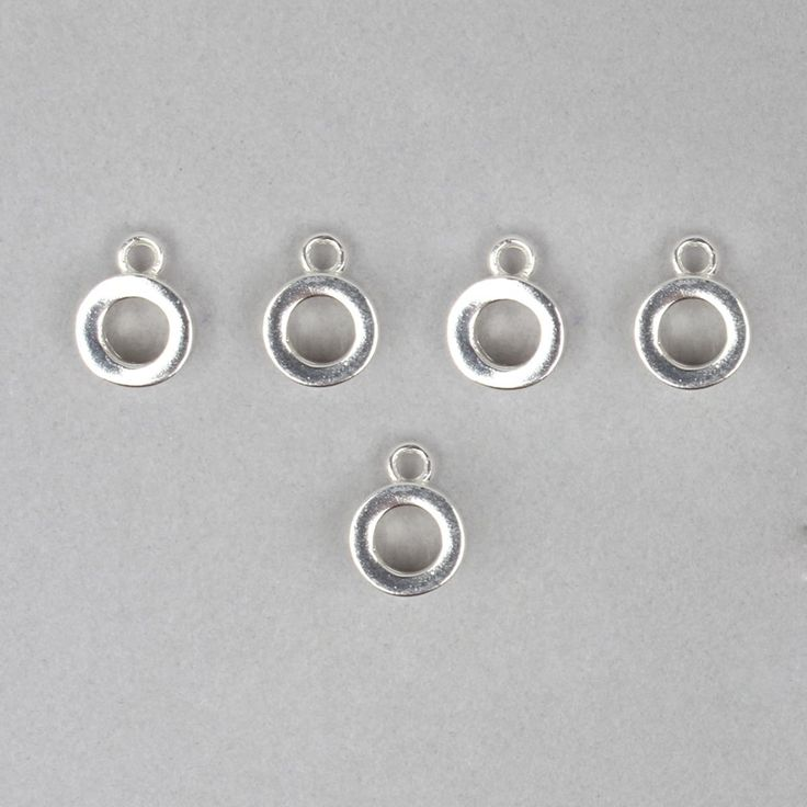 925 Sterling Silver Plain Hanging Charm Approx 7mm (5pcs)