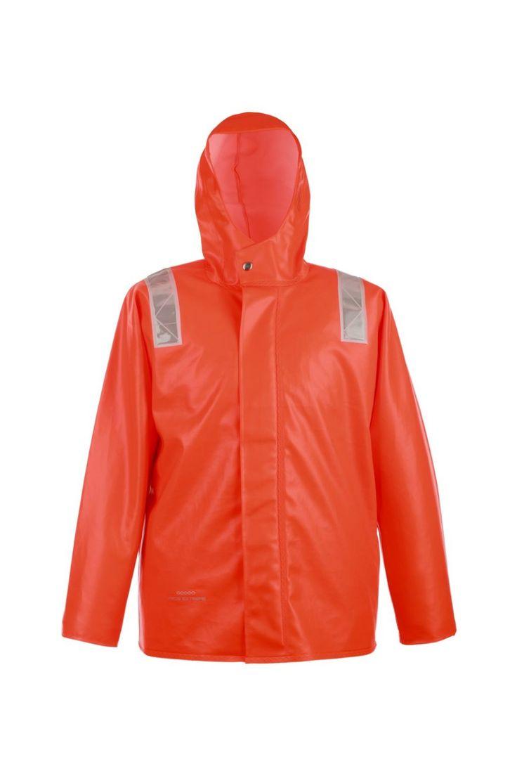 """КУРТКА ШТОРМОВАЯ ВЛАГОЗАЩИТНАЯ model: 3188 Куртка с центральной бортовой застежкой на тесьму – """"молнию"""", с ветрозащитной планкой. Рукава с внутренними манжетами. Призматические ленты на куртке обеспечивают защиту рабочих при плохой видимости. Куртка с двусторонними герметичными швами, выполнена из влагостойкой, трудновоспламеняемой и прочной ткани ПВХ/Хлопок. Рекомендуется для рыболовецких работ в тяжелых атмосферных условиях. Защищает от дождя и ветра."""