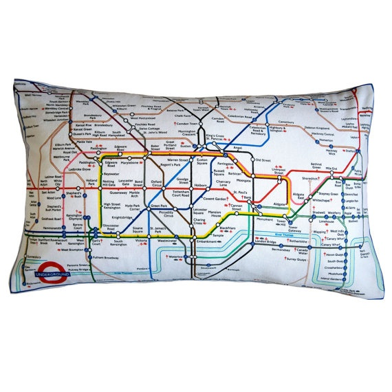 London Underground Cushion Tube Map Upcycled by HuntedandStuffed, £60.00