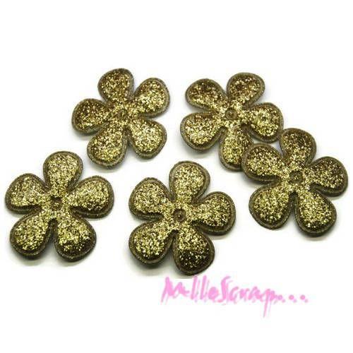 Lot de 5 fleurs tissu effet glitter doré embellissement scrapbooking(réf.310).* de la boutique MademoiselleScrap sur Etsy