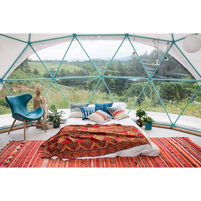 What does bohemian mean to you? ☀️🌻☀️ Please DM for pricing. Thank you @ashevilleglamping for sharing your incredible dome with us. 🙏@larkandloom for capturing the shot! . . . . . . . #asheville #ashevillenc #stctravelhome #domelife #bohoismyjam #bohemian #beautifulinterior #bohemian #love #glamping #wnc #homegoals #jungalowstyle #l#peace #f#sacredspace #zenden #sacredspace #bohoismyjam #bohemianhome #kantha #kilim #interiordesign