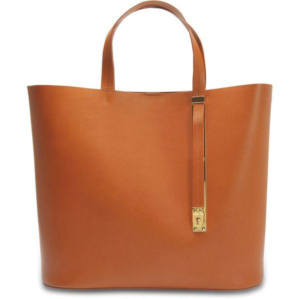Sophie Hulme The Exchange E/W bag ($710) ❤ liked on Polyvore featuring bags, handbags, brown, orange purse, brown bag, orange bag, sophie hulme handbags and sophie hulme purse