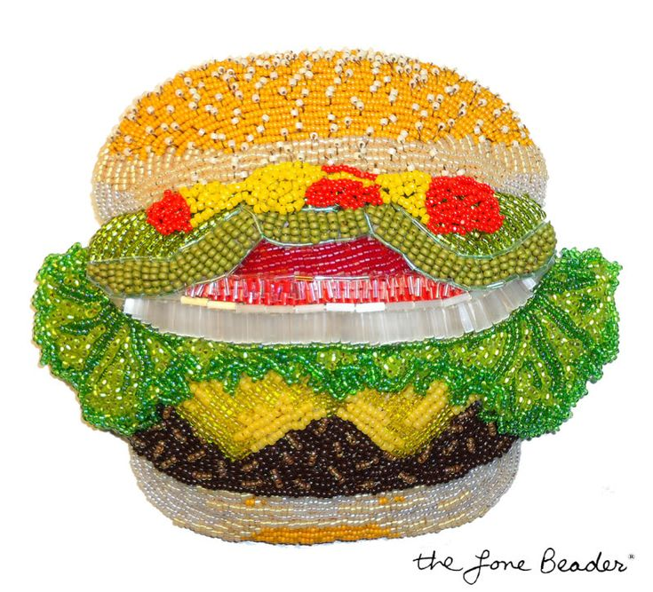 beaded burger  hamburger cheeseburger    bead embroidery beadwork  stitching size 15/o & 11/o glass seed beads to a felt foundation. also used bugle beads for the onion, and tiny micro bugle beads for the tomato & pickles! It measures approx. 14cm x 13cm. The Lone Beader