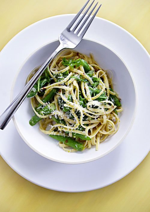 Asparagus and arugula linguine.