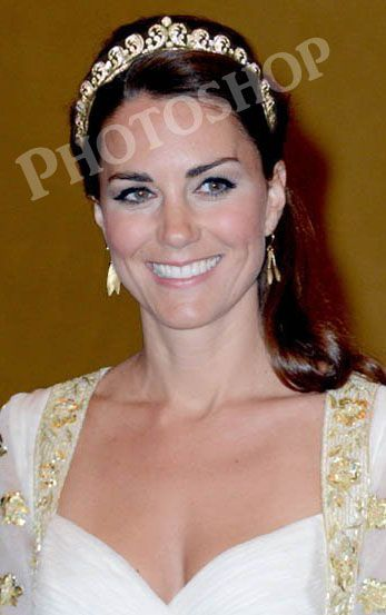 PHOTOSHOP DISASTER; Kate only wore the Cartier Halo Scroll at her wedding so far...