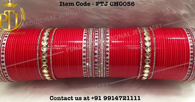 "Punjabi Traditional ""Kundan Red Wedding Chura""  Item Code - PTJ CH0056  For…"